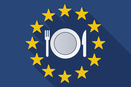 commission: Illustration of a long shadow EU flag with  a dish, knife and a fork icon