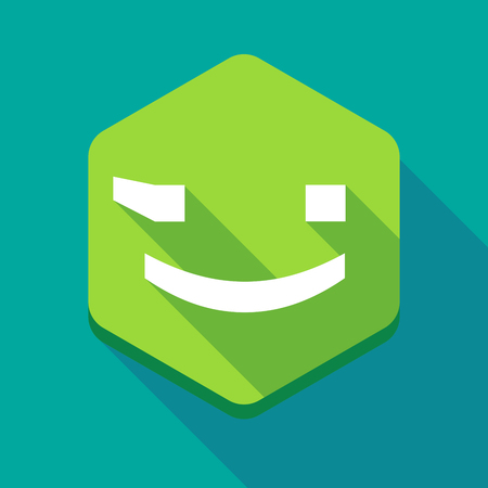 wink: Illustration of a long shadow hexagon icon with  a wink text face emoticon Illustration