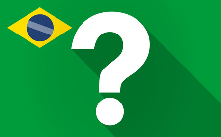interrogation: Illustration of a long shadow Brazil flag with a question sign