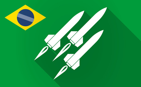 ballistic: Illustration of a long shadow Brazil flag with missiles