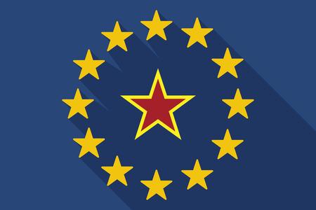communism: Illustration of a long shadow EU flag with  the red star of communism icon Illustration