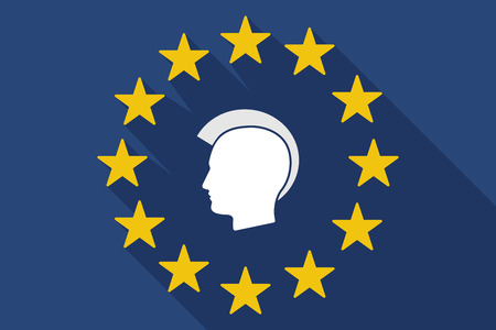 punk hair: Illustration of a long shadow EU flag with  a male punk head silhouette