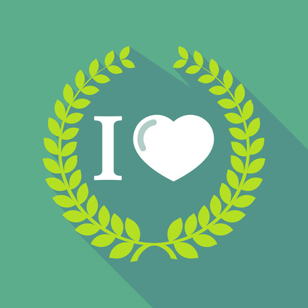 glyph: Illustration of a long shadow laurel wreath icon with  an  I like glyph Illustration
