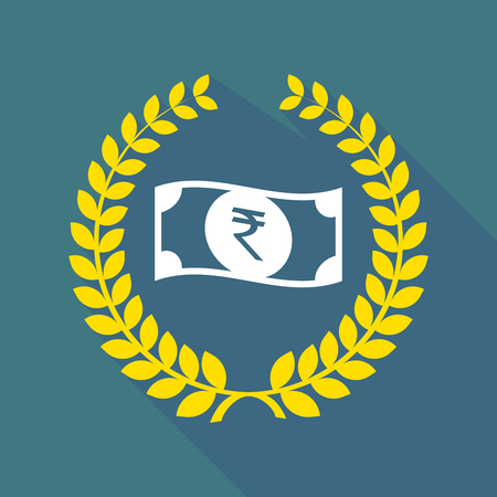 bank note: Illustration of a long shadow laurel wreath icon with  a rupee bank note icon