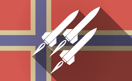 missiles: Illustration of a long shadow Norway flag with missiles