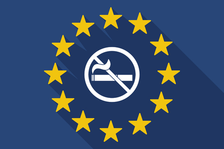 abstain: Illustration of a long shadow EU flag with  a no smoking sign
