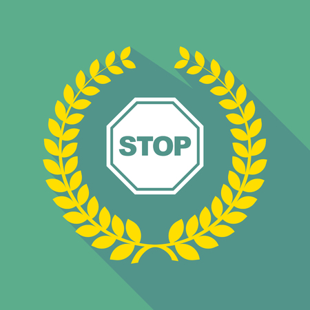 stop signal: Illustration of a long shadow laurel wreath icon with  a stop signal