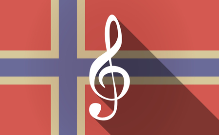 g clef: Illustration of a long shadow Norway flag with a g clef