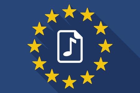 partition musique: Illustration d'une ombre drapeau de l'UE avec une icône de partition Illustration