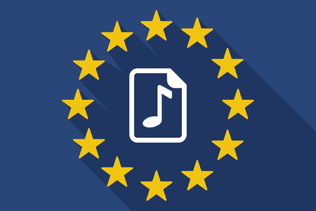 music score: Illustration of a long shadow EU flag with  a music score icon