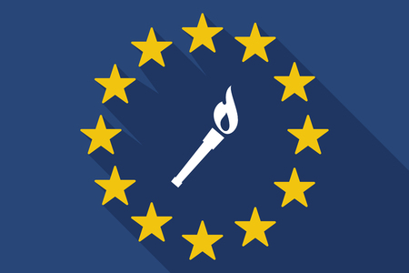 Illustration of a long shadow EU flag with a torch icon