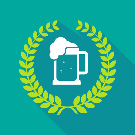 beer jar: Illustration of a long shadow laurel wreath icon with  a beer jar icon