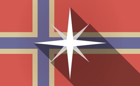 norway flag: Illustration of a long shadow Norway flag with a sparkle Illustration
