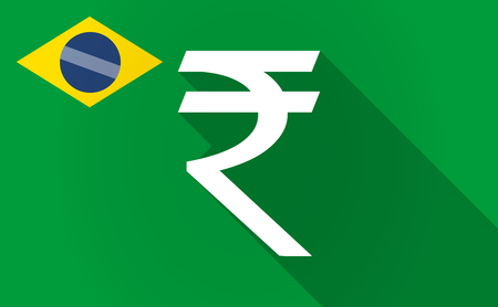financial official: Illustration of a long shadow Brazil flag with a rupee sign Illustration