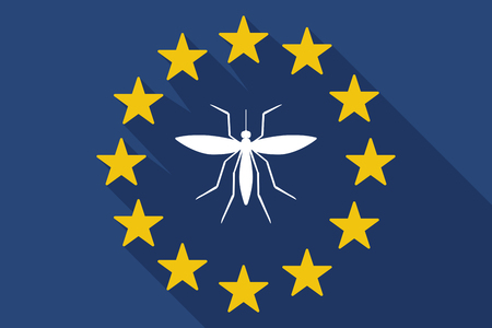 bloodsucker: Illustration of a long shadow EU flag with  a mosquito