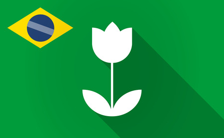 Illustration of a long shadow Brazil flag with a tulip Çizim