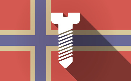 bolt head: Illustration of a long shadow Norway flag with a screw