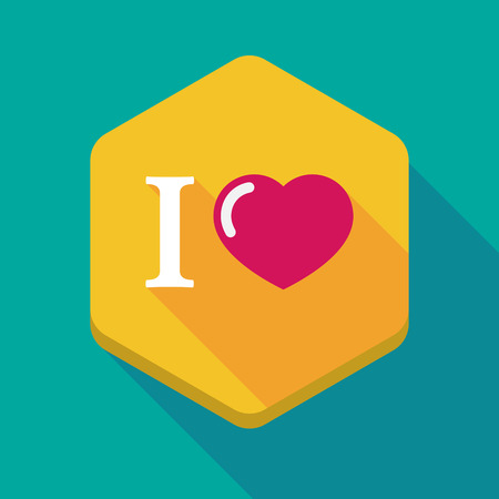 glyph: Illustration of a long shadow hexagon icon with  an  I like glyph