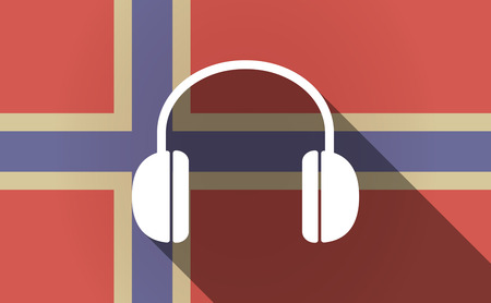 norway flag: Illustration of a long shadow Norway flag with a earphones