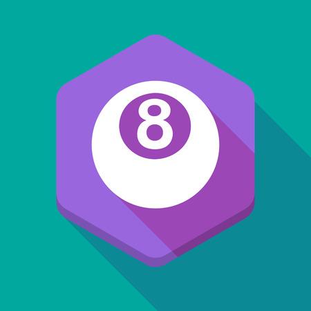 bola de billar: Ilustraci�n de un icono hexagonal larga sombra con una bola de billar
