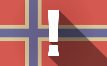 admiration: Illustration of a long shadow Norway flag with an admiration sign