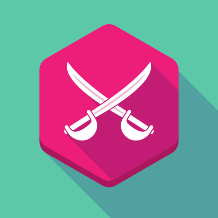 Illustration of a long shadow hexagon icon with  two swords crossed Illustration