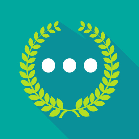ellipsis: Illustration of a long shadow laurel wreath icon with  an ellipsis orthographic sign Illustration