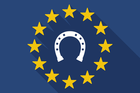 rein: Illustration of a long shadow EU flag with  a horseshoe sign Illustration