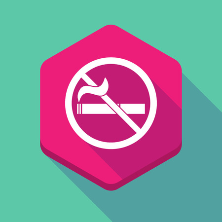 cigar shape: Illustration of a long shadow hexagon icon with  a no smoking sign