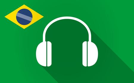 earphones: Illustration of a long shadow Brazil flag with a earphones Illustration