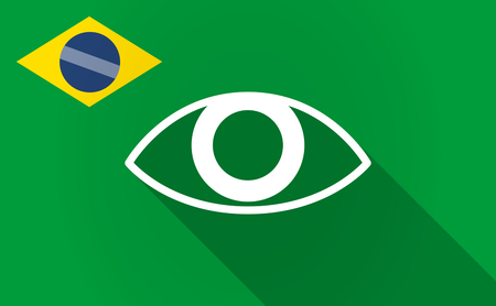 visions of america: Illustration of a long shadow Brazil flag with an eye Illustration