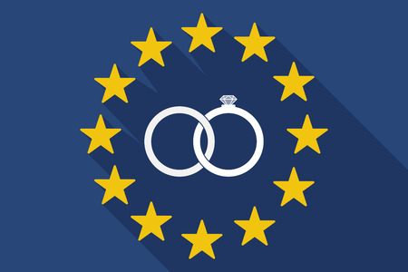 bonded: Illustration of a long shadow EU flag with  two bonded wedding rings Illustration