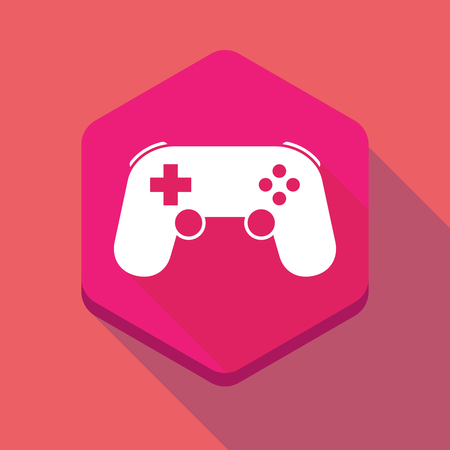 game pad: Illustration of a long shadow hexagon icon with  a game pad