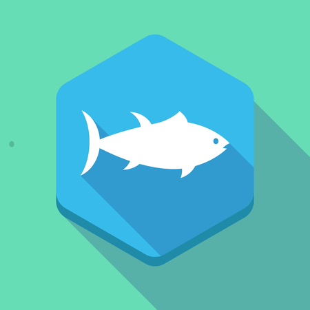 tuna fish: Illustration of a long shadow hexagon icon with  a tuna fish