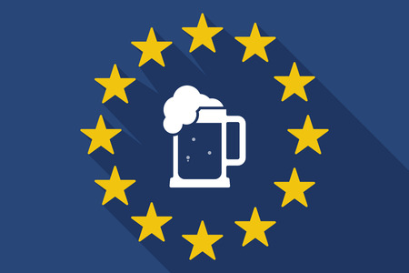 beer jar: Illustration of a long shadow EU flag with  a beer jar icon