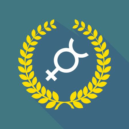 mercury: Illustration of a long shadow laurel wreath icon with  the mercury planet symbol Illustration