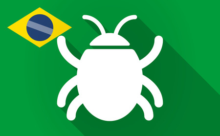 computer worm: Illustration of a long shadow Brazil flag with a bug
