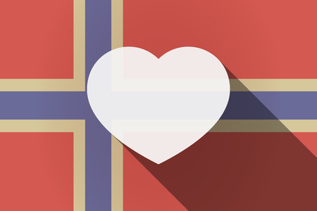 seduction: Illustration of a long shadow Norway flag with a heart
