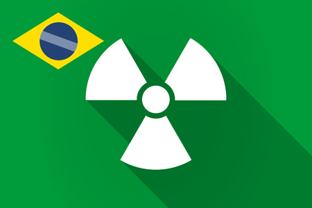 reactor: Illustration of a long shadow Brazil flag with a radio activity sign