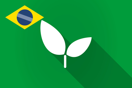 Illustration of a long shadow Brazil flag with a plant