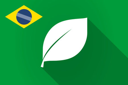Illustration of a long shadow Brazil flag with a leaf