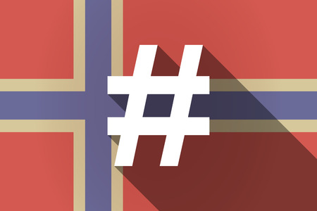 hash: Illustration of a long shadow Norway flag with a hash tag Illustration