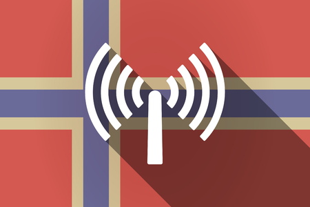 norway flag: Illustration of a long shadow Norway flag with an antenna Illustration