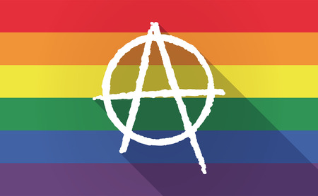 anarchist: Illustration of a long shadow Gay Pride flag with an anarchy sign