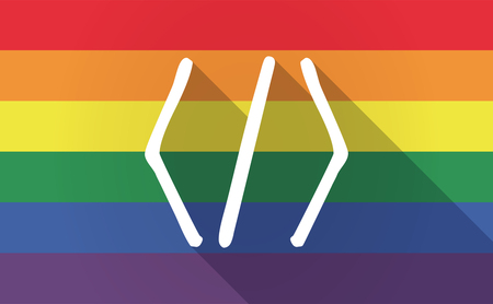 sexual orientation: Illustration of a long shadow Gay Pride flag with a code sign