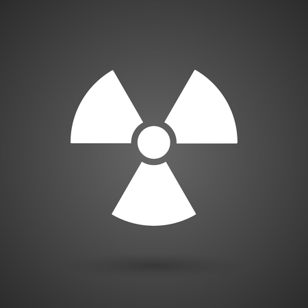 reactor: a radio activity sign   white icon on a dark  background vector illustration