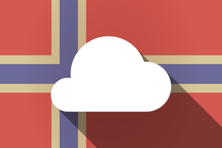 norway flag: Illustration of a long shadow Norway flag with a cloud