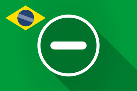 subtraction: Illustration of a long shadow Brazil flag with a subtraction sign