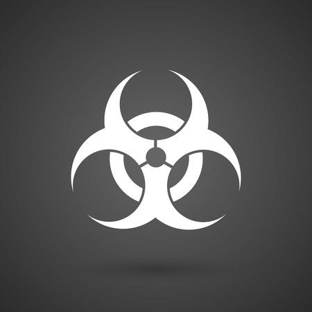 poison symbol: a biohazard sign   white icon on a dark  background vector illustration Illustration