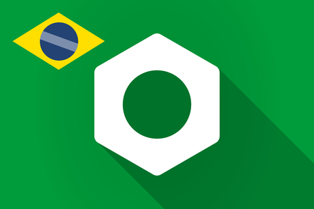 brazil nut: Illustration of a long shadow Brazil flag with a nut